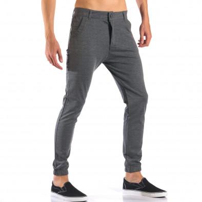 Мъжки светло сив панталон с еластични маншети на крачолите it160616-26 4