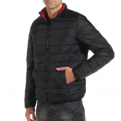 Мъжко черно пролетно-есенно яке с червена подплата it190616-15 4