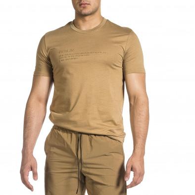 Мъжка бежова тениска с гумиран принт tr150521-5 2