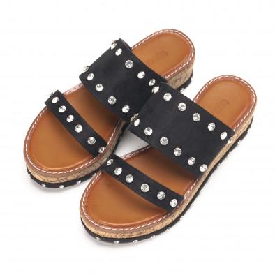 Черни дамски чехли с камъни на платформата it190618-22 3