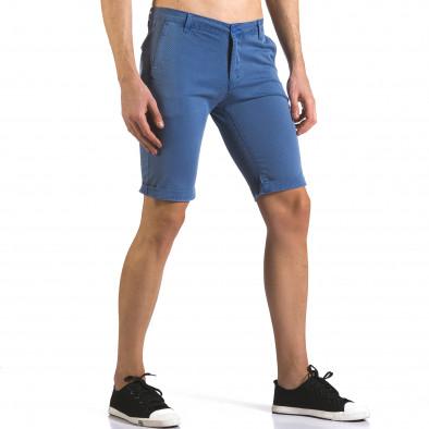 Мъжки сини къси панталони с малки ромбчета it110316-46 4