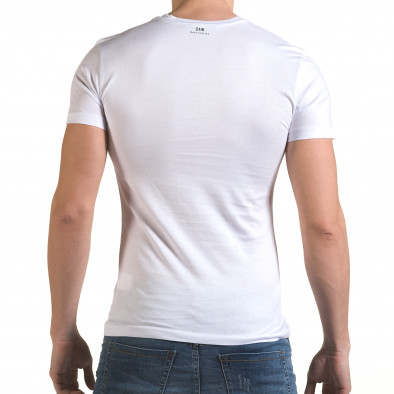 Мъжка бяла тениска с цип на деколтето il170216-65 3