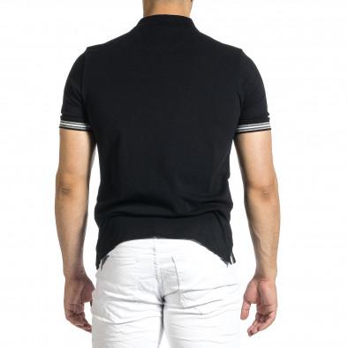 Мъжка черна тениска с яка и раирано бие it150521-18 4