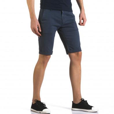 Мъжки сини къси панталони с фин принт по плата it110316-49 4