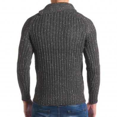 Мъжки сив зимен пуловер с малки бели точки it170816-51 3