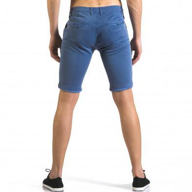 Мъжки сини къси панталони с малки ромбчета it110316-46 3