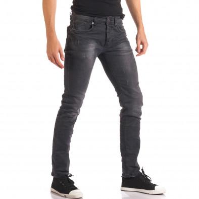 Мъжки тъмно сиви дънки изчистен модел it150816-23 4