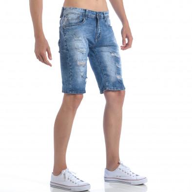 Мъжки къси дънки с декоративни скъсвания Accross 5