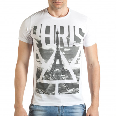 Мъжка бяла тениска с яка щампа отпред il140416-40 2