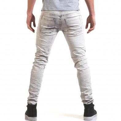 Мъжки светло сив дънков панталон с избелял ефект it090216-22 3