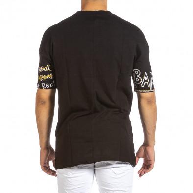 Oversize мъжка черна тениска с череп it240621-13 3