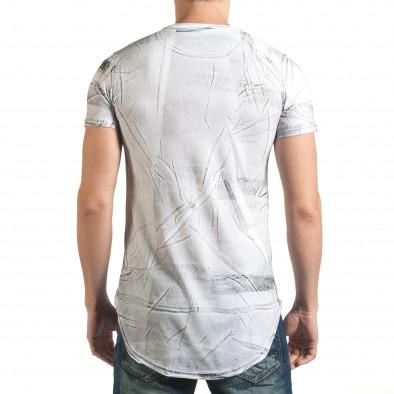 Удължена бяла тениска с принт звезди и номер il140416-15 3