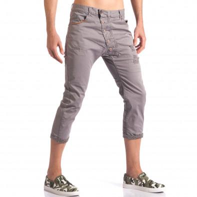Сив мъжки панталон 7/8 тип потури  it250416-27 4