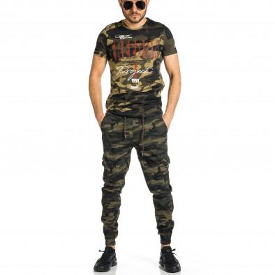 Мъжки карго панталон зелен камуфлаж tr270421-5 4