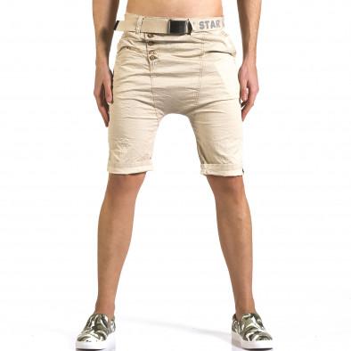 Мъжки бежови къси панталони с колан it110316-42 2