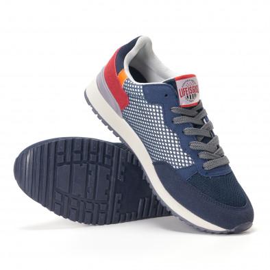 Мъжки сини маратонки на малки бели точки it250118-23 4