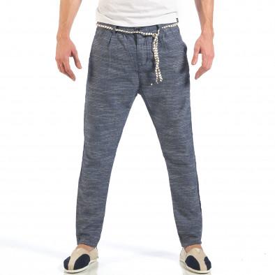 Мъжки сини леки панталони с колан шнур it260318-108 2