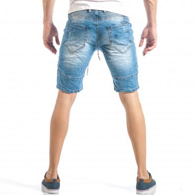 Мъжки сини къси дънки в рокерски стил it040518-72 3