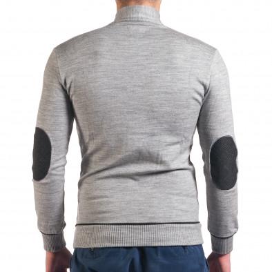 Мъжки светло сив пуловер изчистен модел tsf010416-3 3