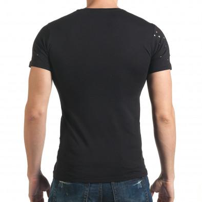 Мъжка черна тениска с декоративни дупки звезди Lagos 4