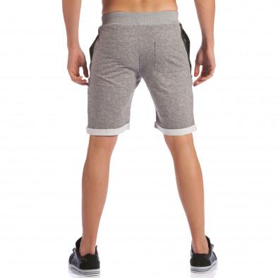 Мъжки сиви шорти с кожени части до джобовете ca100615-19 3