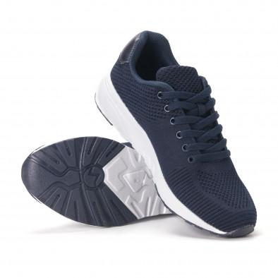 Леки мъжки маратонки от тъмно син релефен текстил it020618-22 4