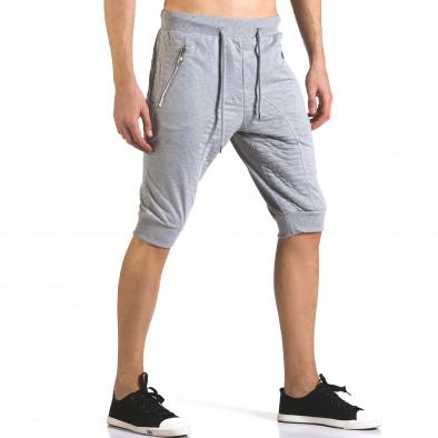 Мъжки сиви къси потури с ципове на джобовете it110316-84 4