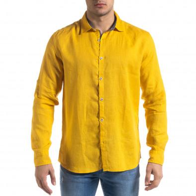 Ленена мъжка риза в жълто tr110320-95 2