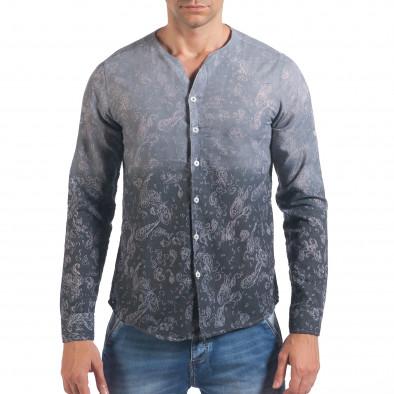 Мъжка сива риза с преливащо оцветяване и фигурална шарка il060616-115 2
