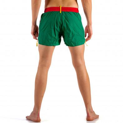Мъжки бяло-зелен бански с червен ластик it230415-20 3