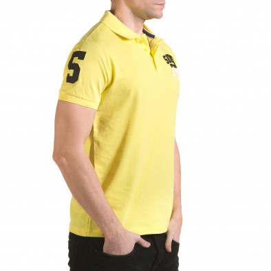 Мъжка жълта тениска с яка с релефен надпис Super FRK Franklin 5