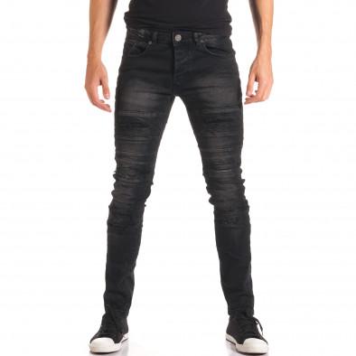 Мъжки черни дънки със скъсвания и допълнителни шевове it150816-35 2
