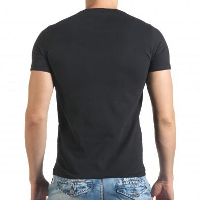 Черна мъжка тениска с голям бежов принт il140416-30 3