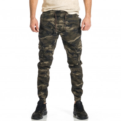 Мъжки карго панталон бежово-зелен камуфлаж tr270421-7 2