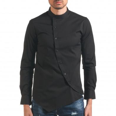 Мъжка риза черна с асиметрично закопчаване it250416-99 2