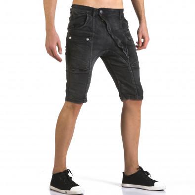 Мъжки сиви къси дънки с допълнителни джобове it110316-65 4