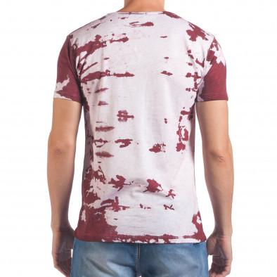 Мъжка бяла тениска с червен принт il060616-55 3