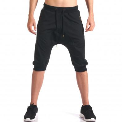Черни мъжки къси потури с ципове на джобовете it260416-32 2
