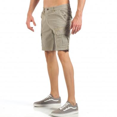 Мъжки къси карго панталони в цвят каки с дребен принт it260318-132 4