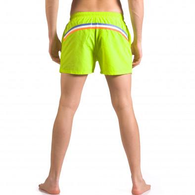 Мъжки неоново зелени бански с бандаж тип шорти ca050416-3 3