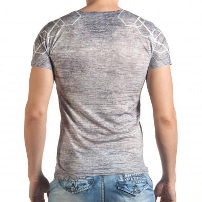 Мъжка сиво-бяла тениска с черепи и номер 78 il140416-65 3