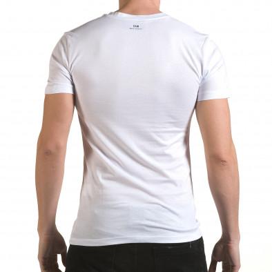 Мъжка бяла тениска със сребристо-син принт il170216-44 3