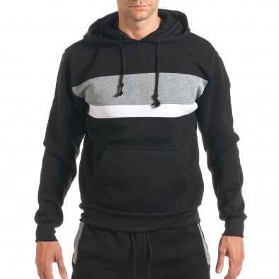 Мъжки черен спортен комплект с 2 ленти отпред it160916-84 4