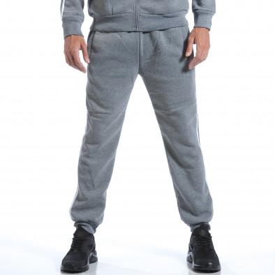 Мъжки светло сив спортен комплект с бели ленти it160817-72 5