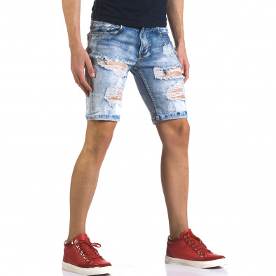 Мъжки светло сини къси дънки с големи скъсвания it110316-72 4