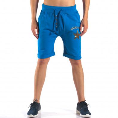 Мъжки сини шорти със златна звезда it160616-15 2