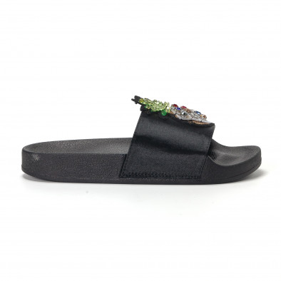 Черни дамски чехли с ананас it230418-35 2