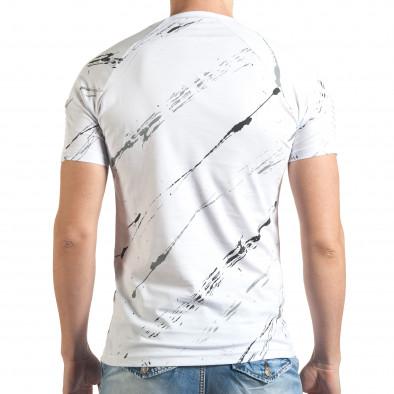 Мъжка бяла тениска с черно-сиви черти Eksi 4