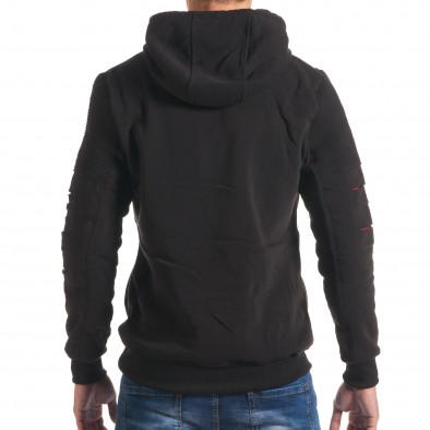 Мъжки черен суичър с декоративни скъсвания на ръкавите it240816-76 3