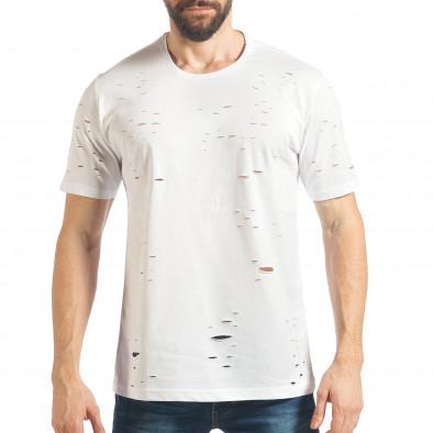 Мъжка бяла тениска с декоративни скъсвания tsf020218-30 2